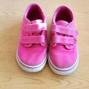 Toddler girls size 8 pink velcro Van's